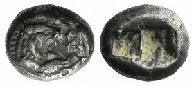 Kings of Lydia, time of Cyrus – Darios I, c. 545-520 BC. AR Third Stater (11mm, 3.48). Sardes. Confronted foreparts of lion r. and bull l. R/ Two incu...