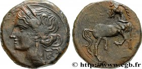 ZEUGITANA - CARTHAGE Type : Shekel ou unité  Date : c. 215-201 AC.  Mint name / Town : Carthage,Zeugitane  Metal : copper  Diameter : 23,5  mm Orienta...