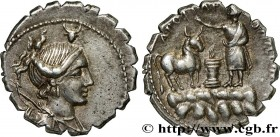 POSTUMIA Type : Denier serratus  Date : 81 AC.  Mint name / Town : Rome  Metal : silver  Millesimal fineness : 950  ‰ Diameter : 18,5  mm Orientation ...