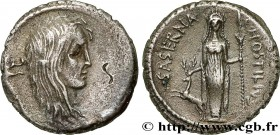 HOSTILIA Type : Denier  Date : 48 AC.  Mint name / Town : Rome  Metal : silver  Millesimal fineness : 950  ‰ Diameter : 19  mm Orientation dies : 6  h...