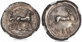 SICILY. Messana. Ca. 480-456 BC. AR tetradrachm (26mm, 17.14 gm, 2h). NGC AU 4/5 - 5/5, die shift. Ca. 478-476 BC. Seated male charioteer driving biga...