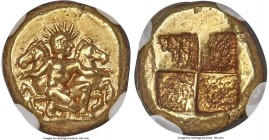 MYSIA. Cyzicus. Ca. 450-350 BC. EL sixth-stater or hecte (11mm, 2.70 gm). NGC AU S 5/5 - 4/5. Ca. 410 BC. Helios, nude, kneeling right in front of for...