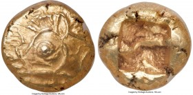 IONIA. Uncertain mint. Ca. 600-550 BC. EL 1/12 stater or hemihecte (8mm, 1.33 gm). NGC Choice MS 5/5 - 5/5. Phokaic standard. Head of boar left with l...