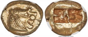 LYDIAN KINGDOM. Alyattes or Walwet (ca. 610-561 BC). EL third-stater or trite (13mm, 4.75 gm). NGC Choice AU S 5/5 - 4/5. Uninscribed issue, Lydo-Mile...