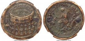 Titus, as Augustus (AD 79-81). AE proto-contorniate sestertius (36mm, 24.49 gm, 6h). NGC VF 5/5 - 1/5, double holed and plugged. Rome, AD 80-81. Obliq...