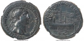 Trajan (AD 98-117). AE sestertius (35mm, 26.94 gm, 7h). NGC XF 5/5 - 2/5, Fine Style, smoothing. Rome, ca. AD 103-104. IMP CAES NERVAE TRAIANO AVG GER...