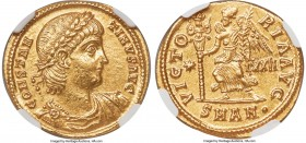 Constantine II, as Augustus (AD 337-340). AV solidus (21mm, 4.45 gm, 5h). NGC AU S 5/5 - 4/5. Antioch, AD 337-338. CONSTAN-TINVS AVG, laureate, draped...