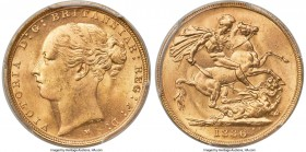 "Victoria gold ""St. George"" Sovereign 1886-M MS65 PCGS, Melbourne mint, KM7, S-3857C. A gem of outstanding quality for its date and type, tied for the ..."