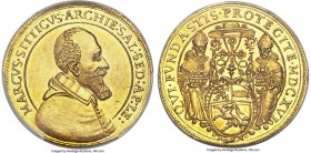 Salzburg. Markus Sitticus gold 4 Ducat 1616 MS63 PCGS, KM41, Fr-705, Probszt-911. 13.87gm. An exquisite example of this rare multiple ducat conveying ...
