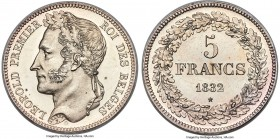 Leopold I silver Proof Pattern 5 Francs 1832 PR62 Cameo NGC, Brussels mint, KM-Unl., Dupriez-2 var. (R2; there, with lettered edge), Bogaert-8 var. (s...