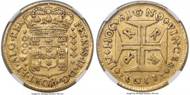 Pedro II gold 4000 Reis 1707-R XF45 NGC, Rio de Janeiro mint, KM101, LMB-38. Graced with a potent strike that leaves sound detail even after circulati...