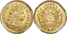 João V gold 1600 Reis 1733-M MS64 NGC, Minas Gerais mint, KM125, LMB-270. Sharply chiseled central devices rise above the fields of this impressive ne...