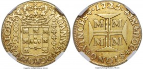 João V gold 2000 Reis 1725-M XF40 NGC, Minas Gerais mint, KM114, LMB-237. A lovely representative conveying a wholly natural beauty, its surfaces, tho...