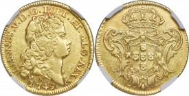 João V gold 3200 Reis 1749-R AU53 NGC, Rio de Janeiro mint, KM155, LMB-205. An altogether pleasing offering in this near-mint condition, the surfaces ...