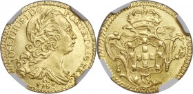 Jose I gold 1600 Reis 1763-R MS64 NGC, Rio de Janeiro mint, KM181.2, LMB-411. Virtually never encountered in Mint State, and yet, here is just such an...