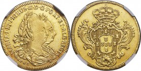 Maria I & Pedro III gold 3200 Reis 1782-B AU Details (Cleaned) NGC, Bahia mint, KM150, LMB-477. A scarce issue perpetually sought by collectors of the...