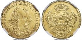 Maria I & Pedro III gold 3200 Reis 1783-B XF45 NGC, Bahia mint, KM150, LMB-478. 'B' to far right after date beneath jugate busts. The finest example o...