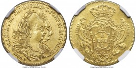 Maria I & Pedro III gold 3200 Reis 1785-B AU Details (Cleaned) NGC, Bahia mint, KM150, LMB-480. A scarce issue featuring a well-placed central strike,...