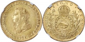 Pedro I gold 6400 Reis 1825-R MS63 NGC, Rio de Janeiro mint, KM370.1, LMB-600. Scarce as a type and rare in Mint State condition, the date saw a total...