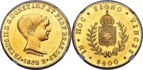 "Pedro II gold ""'Azevedo' Below Bust"" 6400 Reis 1832-R UNC Details (Cleaned) NGC, Rio de Janeiro mint, KM387.2, LMB-612. The scarce variety of the year..."