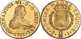 Ferdinand VI gold 8 Escudos 1751 So-J MS64 NGC, Santiago mint, KM3, Cal-72, Onza-644. Watery golden brilliance flows across the surfaces of this excep...