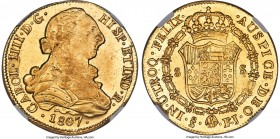 Charles IV gold 8 Escudos 1807 So-FJ MS63 NGC, Santiago mint, KM54, Onza-1184. A choice example featuring the bust of Charles III whose features are s...