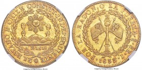 Republic gold 8 Escudos 1833 So-I MS63+ NGC, Santiago mint, KM84, Onza-1627, MC-67. An almost universally circulated type that usually comes plagued b...