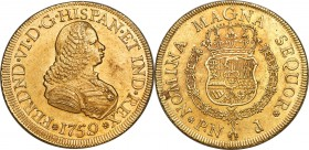 Ferdinand VI gold 8 Escudos 1759 PN-J MS62+ NGC, Popayan mint, KM32.2, Onza-612. A commendable representative combining elements of both satiny and fl...