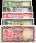 AFGHANISTAN. Afghanistan Bank. 50 to 1000 Afghanis, ND (1961-67). P-42s to 46s. Specimens. About Uncirculated.