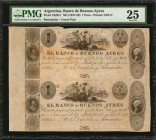 ARGENTINA. Uncut Pair. Banco de Buenos Ayres. 1 Peso, ND (1827-29). P-S328r1. Remainder. PMG Very Fine 25.