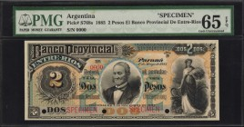 ARGENTINA. Banco Provincial de Entre Rios. 2 Pesos, 1885. P-S768s. Specimen. PMG Gem Uncirculated 65 EPQ.