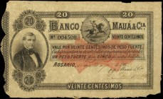 ARGENTINA. Banco Maua. 20 Centesimos, 1865. P-S1747c. Fine.