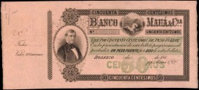 ARGENTINA. Banco de Maua. 50 Centesimos, 186x. P-Unlisted. Specimen. About Uncirculated.