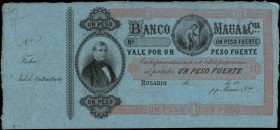 ARGENTINA. Banco de Maua. 1 Peso, 18xx. P-Unlisted. About Uncirculated.