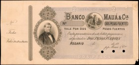 ARGENTINA. Banco de Maua. 2 Pesos, 18xx. P-Unlisted. Specimen. Uncirculated.