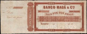 ARGENTINA. Banco de Maua. 2 Pesos, 18xx. P-Unlisted. Specimen. About Uncirculated.