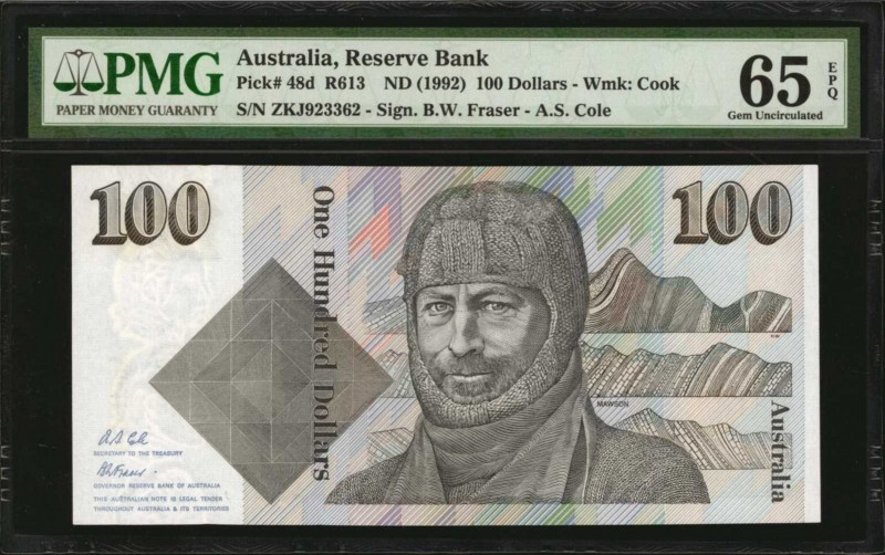 AUSTRALIA. Reserve Bank. 100 Dollars, ND (1992). P-48d. Consecutive. PMG Choice ...