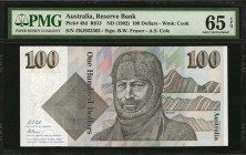AUSTRALIA. Reserve Bank. 100 Dollars, ND (1992). P-48d. Consecutive. PMG Choice Uncirculated 64 EPQ & Gem Uncirculated 65 EPQ.