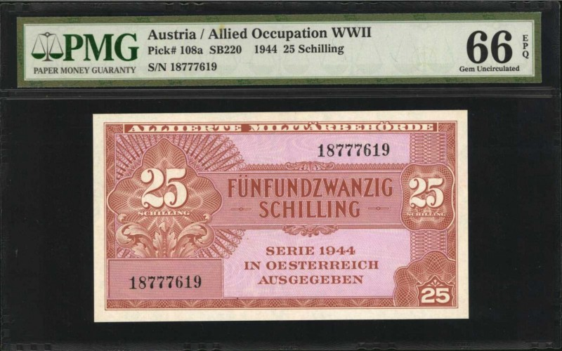 AUSTRIA. Allied Occupation WWII. 25 Schilling, 1944. P-108a. PMG Gem Uncirculate...