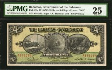 BAHAMAS. Government of the Bahamas. 4 Shillings, 1919 (ND 1924). P-2b. PMG Very Fine 25.