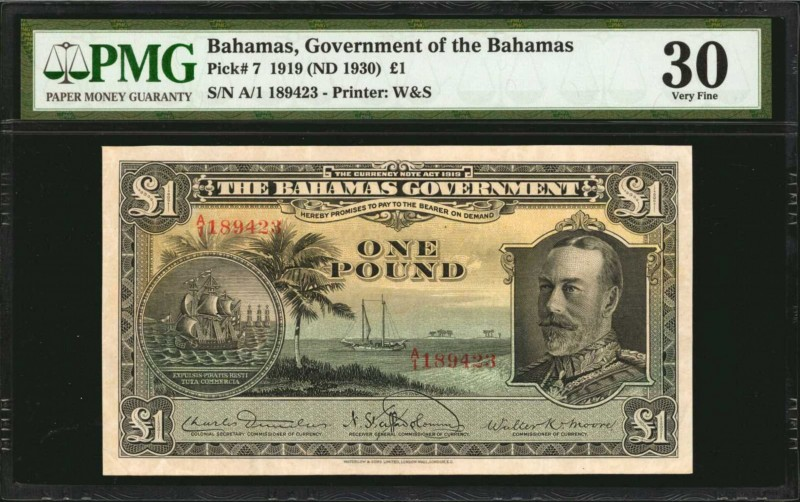 BAHAMAS. Government of the Bahamas. 1 Pound, 1919 (ND 1930). P-7. PMG Very Fine ...