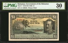 BAHAMAS. Government of the Bahamas. 1 Pound, 1919 (ND 1930). P-7. PMG Very Fine 30.