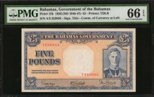 BAHAMAS. Government of the Bahamas. 5 Pounds, 1936 (ND 1945-47). P-12b. PMG Gem Uncirculated 66 EPQ.