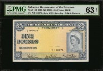 BAHAMAS. Government of the Bahamas. 5 Pounds, 1936 (ND 1963). P-16d. PMG Choice Uncirculated 63 EPQ.