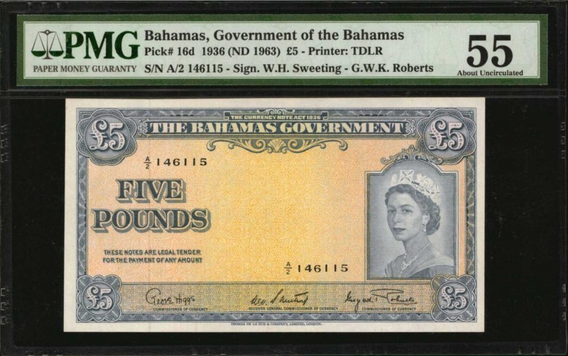 BAHAMAS. Government of the Bahamas. 5 Pounds, 1936 (ND 1963). P-16d. PMG About U...