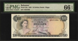 BAHAMAS. Government of the Bahamas. 10 Dollars, 1965. P-22a. PMG Gem Uncirculated 66 EPQ.