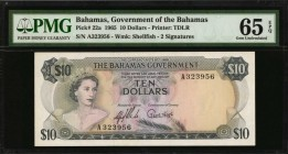 BAHAMAS. Government of the Bahamas. 10 Dollars, 1965. P-22a. PMG Gem Uncirculated 65 EPQ.