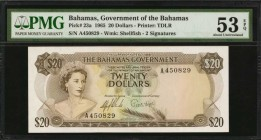 BAHAMAS. Government of the Bahamas. 20 Dollars, 1965. P-23a. PMG About Uncirculated 53 EPQ.