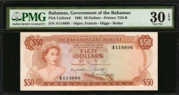 BAHAMAS. Government of the Bahamas. 50 Dollars, 1965. P-Unlisted. PMG Very Fine 30 EPQ.