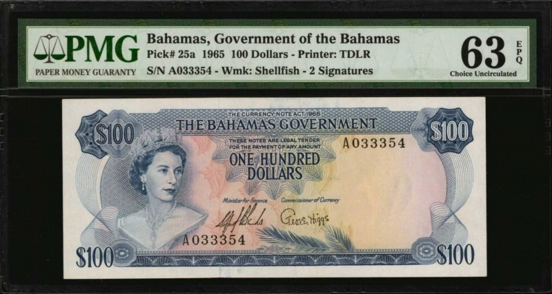 BAHAMAS. Government of the Bahamas. 100 Dollars, 1965. P-25a. PMG Choice Uncircu...